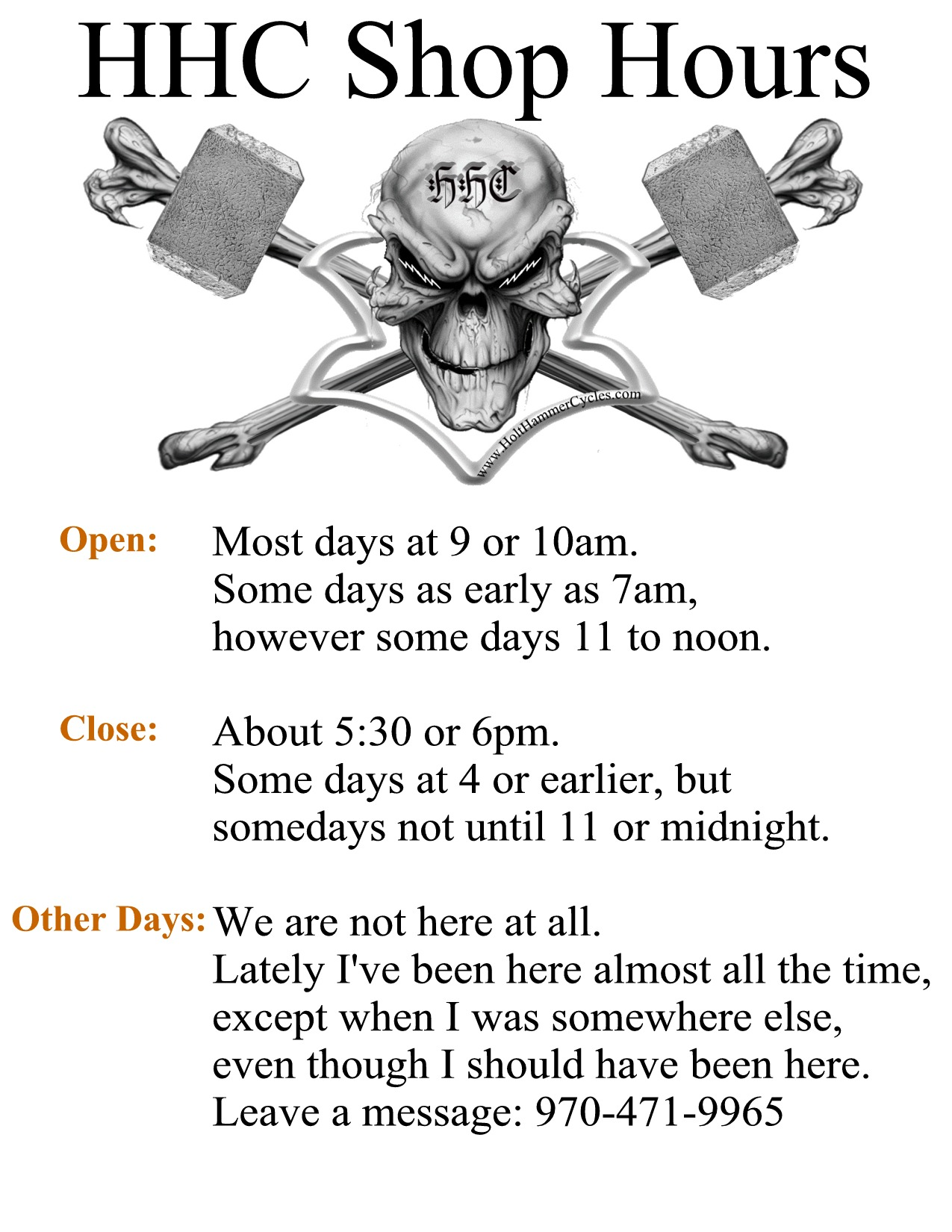 HHC Shop Hours